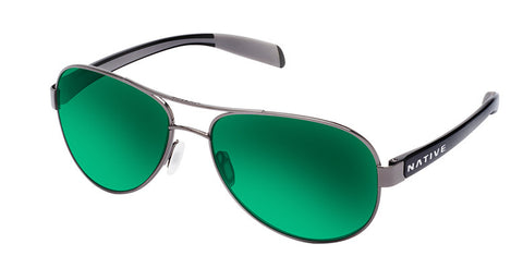 Native - Patroller Gunmetal/Shiny Black Sunglasses, Green Reflex Lenses