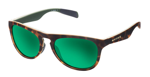 Native Sanitas Desert Tort Sunglasses, Green Reflex Lenses