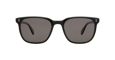 Garrett Leight - Emperor 52mm Black Laminate Crystal Sunglasses / Black Polarized Lenses