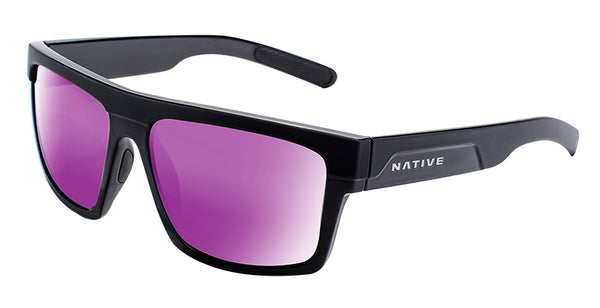 Native - El Jefe Matte Black + Gloss Black Sunglasses / Violet Reflex Lenses
