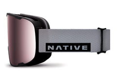 Native - Treeline Gray Rip Goggles, Rose React Lenses
