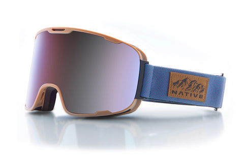 Native Treeline Rider Goggles, Blue Mirror Lenses