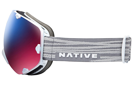 Native - Spindrift Gray Lines Snow Goggles / Blue Mirror Lenses