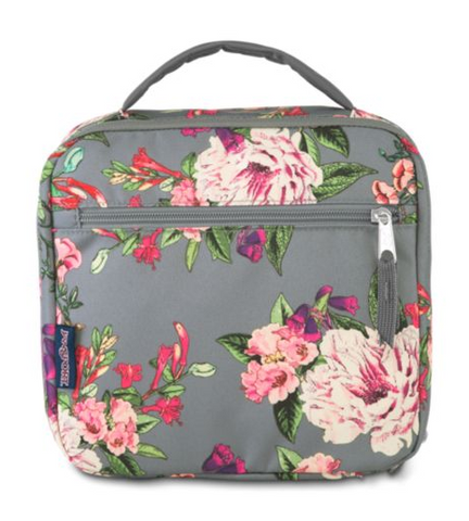 JanSport - Lunch Break Grey Bouquet Floral Lunch Bag