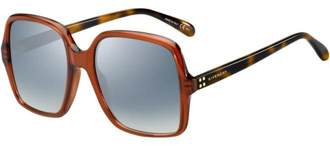 Givenchy - Gv 7123 G S Red Havana Sunglasses / Azure Mirror Flash Lenses