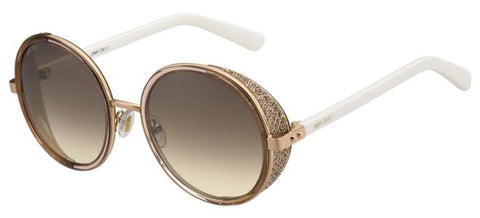 Jimmy Choo - Andie N S Gold Beige Glitter White Sunglasses / Brown Gradient Lenses