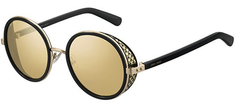 Jimmy Choo - Andie N S Black Gold Sunglasses / Silver Mirror Lenses