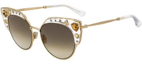 Jimmy Choo - Audrey S Crystal Gold Sunglasses / Gray Gold Lenses