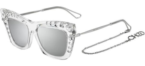 Jimmy Choo - Bee S Crystal Silver Sunglasses / Silver Mirror Lenses