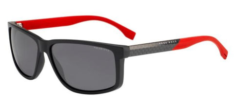 BOSS by Hugo Boss - 0833 S Gray Carbon Red Sunglasses / Smoke Polarized Lenses