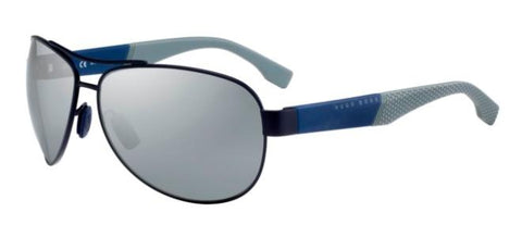 BOSS by Hugo Boss - 0915 S Matte Blue Sunglasses / Brown Mirror Shaded Silver Lenses