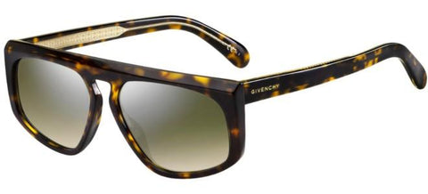 Givenchy - Gv 7125 S Dark Havana Sunglasses / Green Silver Mirror Lenses
