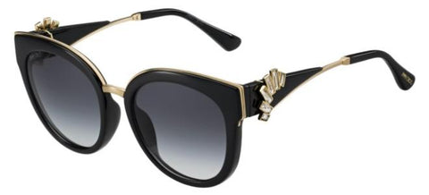 Jimmy Choo - Jade S Black Gold Sunglasses / Dark Gray Gradient Lenses
