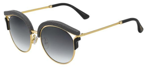 Jimmy Choo - Lash S Gold Black Glitter Sunglasses / Dark Gray Gradient Lenses