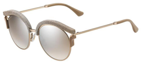 Jimmy Choo - Lash S Bronze Beige Glitter Sunglasses / Brown Mirror Gradient Lenses