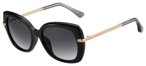 Jimmy Choo - Ludi S Black Gold Copper Sunglasses / Dark Gray Gradient Lenses