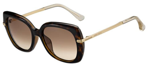 Jimmy Choo - Ludi S Havana Rose Gold Sunglasses / Brown Gradient Lenses