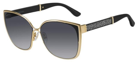 Jimmy Choo - Maty S Gold Black Glitter Sunglasses / Dark Gray Gradient Lenses