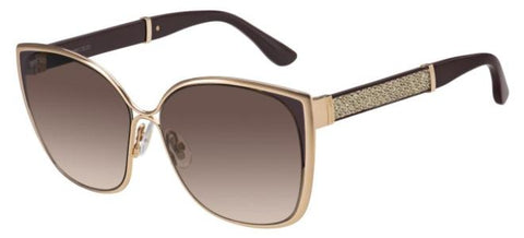 Jimmy Choo - Maty S Gold Brown Glitter Sunglasses / Lilac Mirror Gradient Lenses