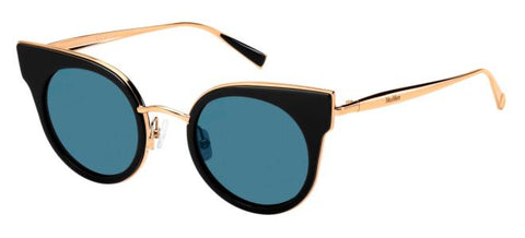 Max Mara - Ilde I Black Gold Copper Sunglasses / Blue Lenses