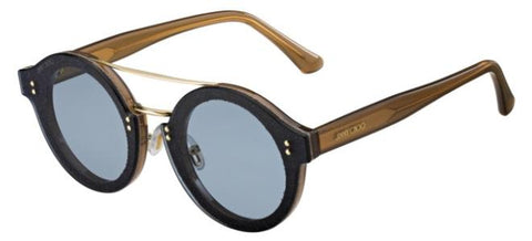 Jimmy Choo - Montie S Nude Glitter Gold Sunglasses / Blue Lenses