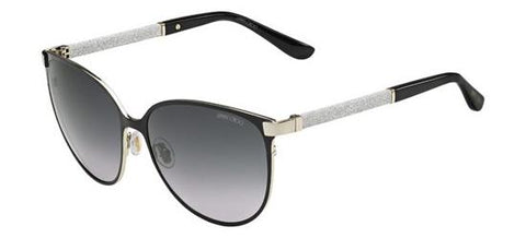 Jimmy Choo - Posie S Shiny Black Sunglasses / Gray Gradient Lenses