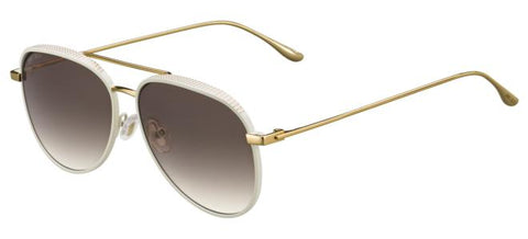 Jimmy Choo - Reto S Shiny White Sunglasses / Brown Gradient Lenses