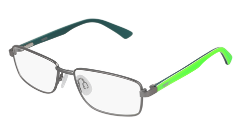 Puma - PJ0014O Junior Ruthenium + Green Eyeglasses / Demo Lenses