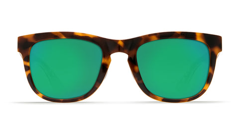 Costa - Copra  Shiny Retro Tortoise + Cream Salmon Sunglasses / Green Polarized Plastic Lenses