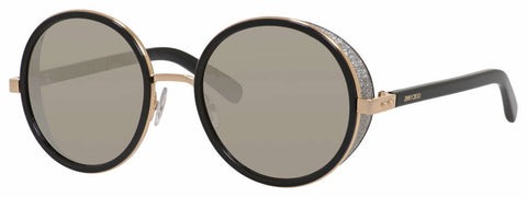 Jimmy Choo - Andie S Rose Gold Shiny Black Sunglasses / Gray Silver Mirror Lenses