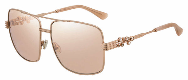 Jimmy Choo - Tonia S Red Gold Nude White Sunglasses / Pink Flash Silver Lenses