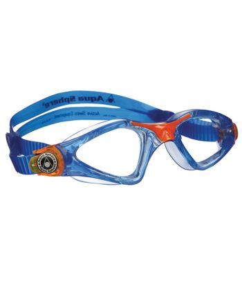 Aqua Sphere Kayenne Jr Trans Blue / Orange Swim Goggles, Clear Lenses