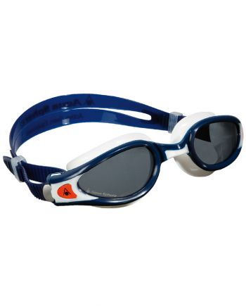 Aqua Sphere Kaiman EXO Small Fit Blue / White Swim Goggles, Smoke Lenses