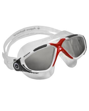 Aqua Sphere - Vista White / Gray / Red Swim Goggles, Smoke Lenses