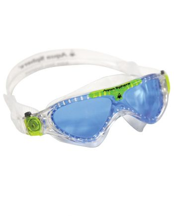 Aqua Sphere - Vista Jr Translucent / Lime Swim Goggles, Blue Lenses