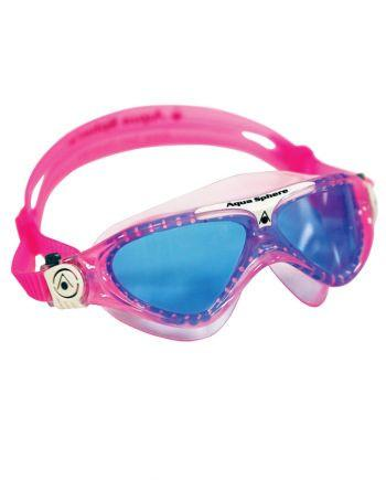 Aqua Sphere - Vista Jr Translucent Pink White Swim Goggles / Blue Lenses