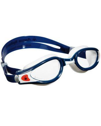 Aqua Sphere - Kaiman EXO Blue / White / Orange Swim Goggles, Clear Lenses