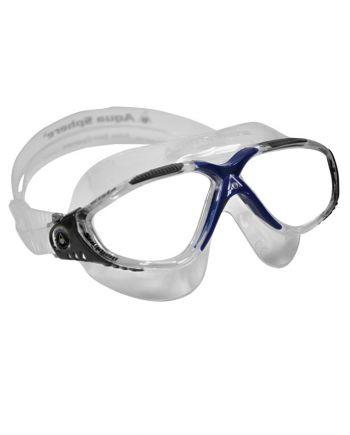 Aqua Sphere - Vista Translucent Gray Blue Swim Goggles / Clear Lenses