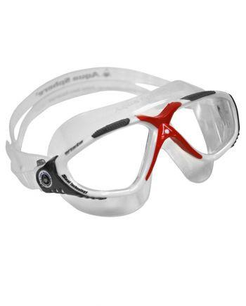 Aqua Sphere Vista White / Red / Gray Swim Goggles, Clear Lenses