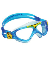Aqua Sphere - Vista Jr Trans Blue / Yellow Swim Goggles, Clear Lenses