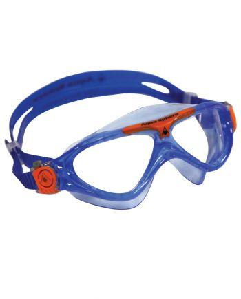 Aqua Sphere Vista Jr Trans Blue / Orange Swim Goggles, Clear Lenses