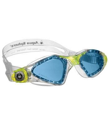 Aqua Sphere - Kayenne Jr Translucent / Lime Swim Goggles, Blue Lenses
