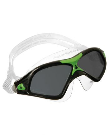 Aqua Sphere Seal XP 2 Black / Green Swim Goggles, Smoke Lenses