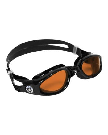 Aqua Sphere Kaiman Regular Fit Black Swim Goggles, Amber Lenses