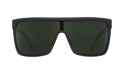 Spy - Flynn Matte Ebony Sunglasses / Ivory Happy Gray Green Lenses