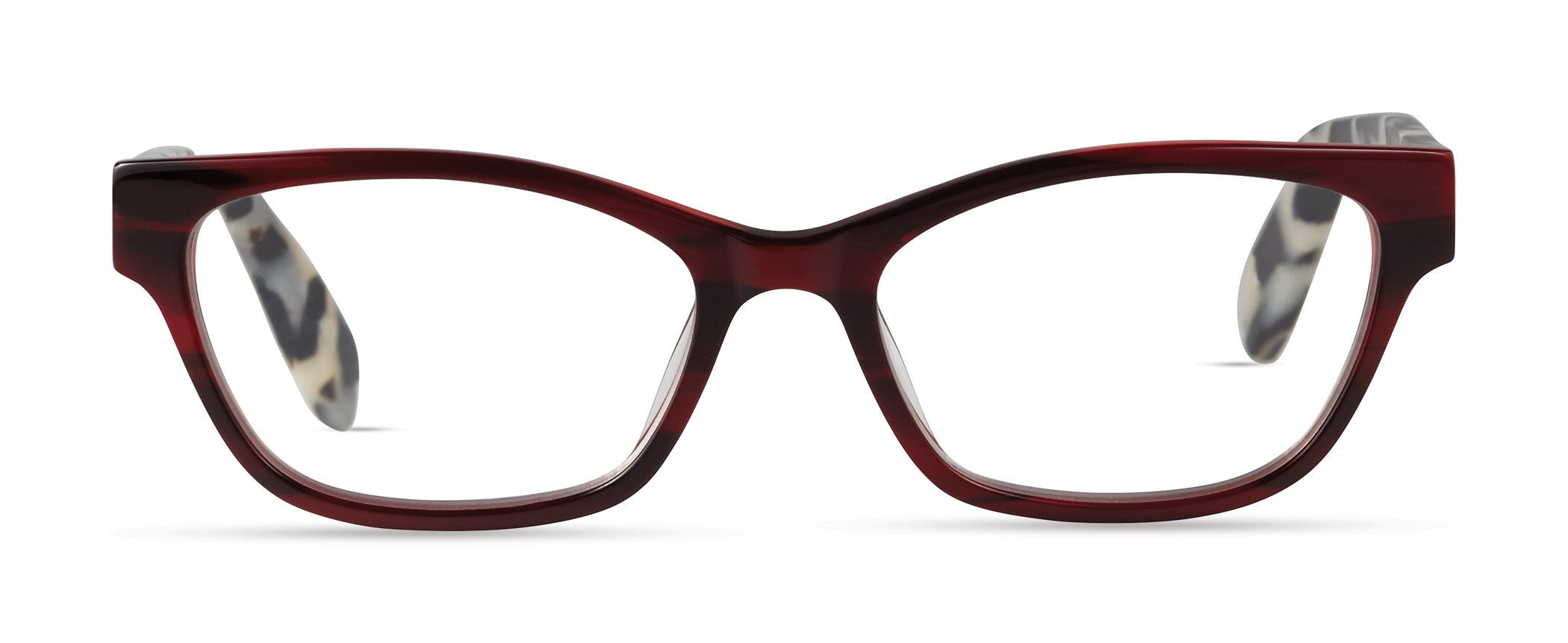 Scojo Devoe Street Crimson Stripe / Marbled Black Reader Eyeglasses / +1.50 Lenses