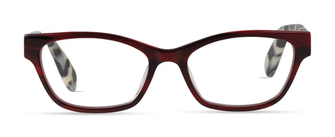 Scojo - Devoe Street Crimson Stripe / Marbled Black Reader Eyeglasses / +1.50 Lenses
