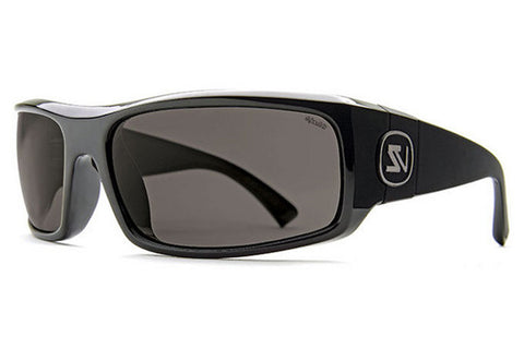 VonZipper - Kickstand Black Gloss PBV Sunglasses, Wildlife Vintage Grey Polarized Lenses