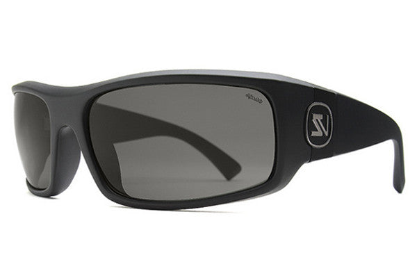 VonZipper - Kickstand Black Smoke Satin PSV Sunglasses, Wildlife Vintage Grey Polarized Lenses