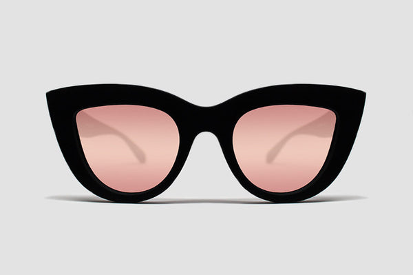 Quay Kitti Black / Pink Mirror Sunglasses